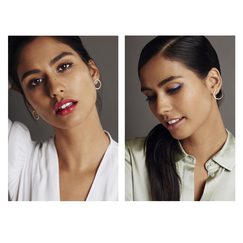 Iconic red lips  and jewel-toned, sapphire blue eyeliner on model Ashika Pratt